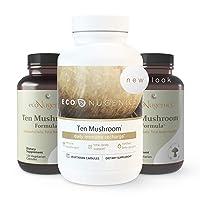 EcoNugenics - Ten Mushroom Formula - 120 Capsules - Medicinal Mushroom Supplement & Immune System Support - Reishi, Lions Mane, Cordyceps, Turkey Tail, Maitake, Shiitake, Organic Wellness Formula