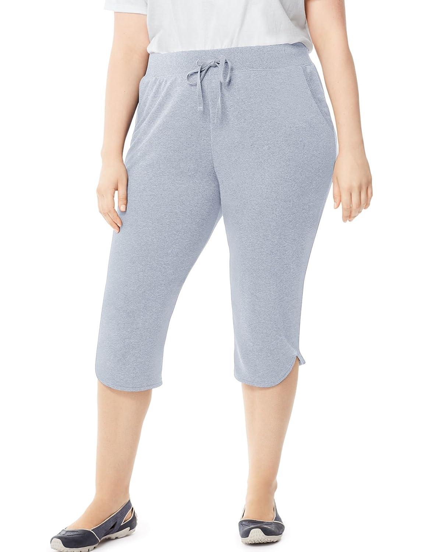 Just My Size Women`s Plus-Size French Terry Dolphin-Hem Pocket Capri Pants J347