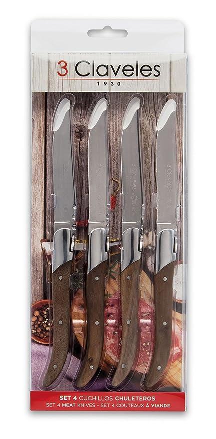 3 Claveles 1480-Set 4 chuleteros 10 cm Cuchillo de Mesa ...