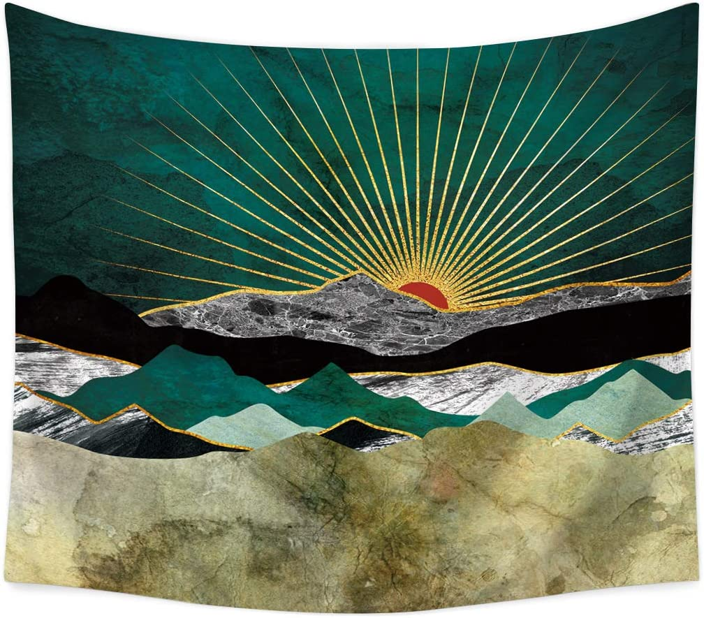 jessieline Mountains Tapestry Forest Tree Tapestry Abstract Sunrise Wall Hanging Beach Towel Nature Sea Landscape Tapestries Home Decor Tapestry Blanket for Bedroom Living Room Dorm (78x59 Inch, Y07)