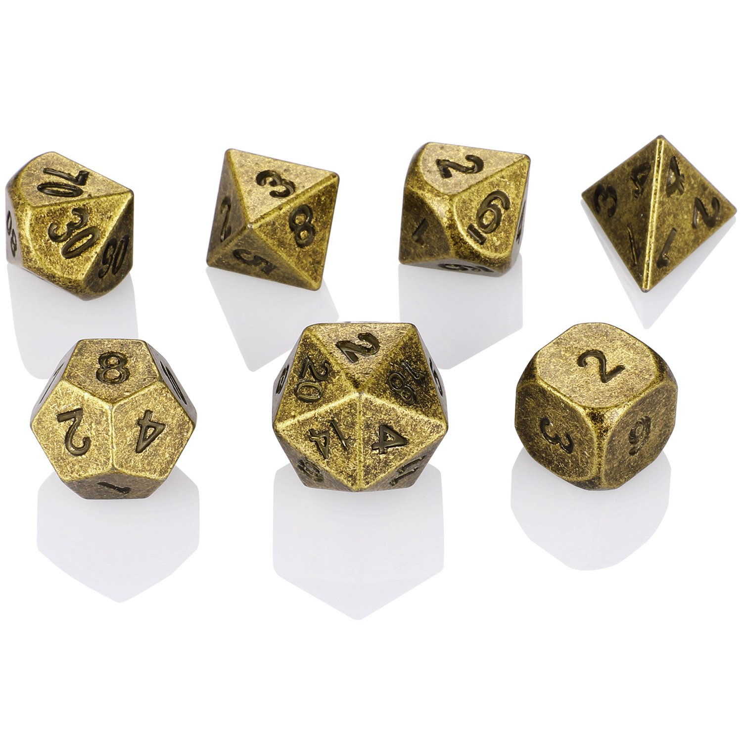 Arcobaleno-Rosa Hestya 7 Pieces Metal Dices Set with Storage Bag And Enamel for Dungeons And Dragons