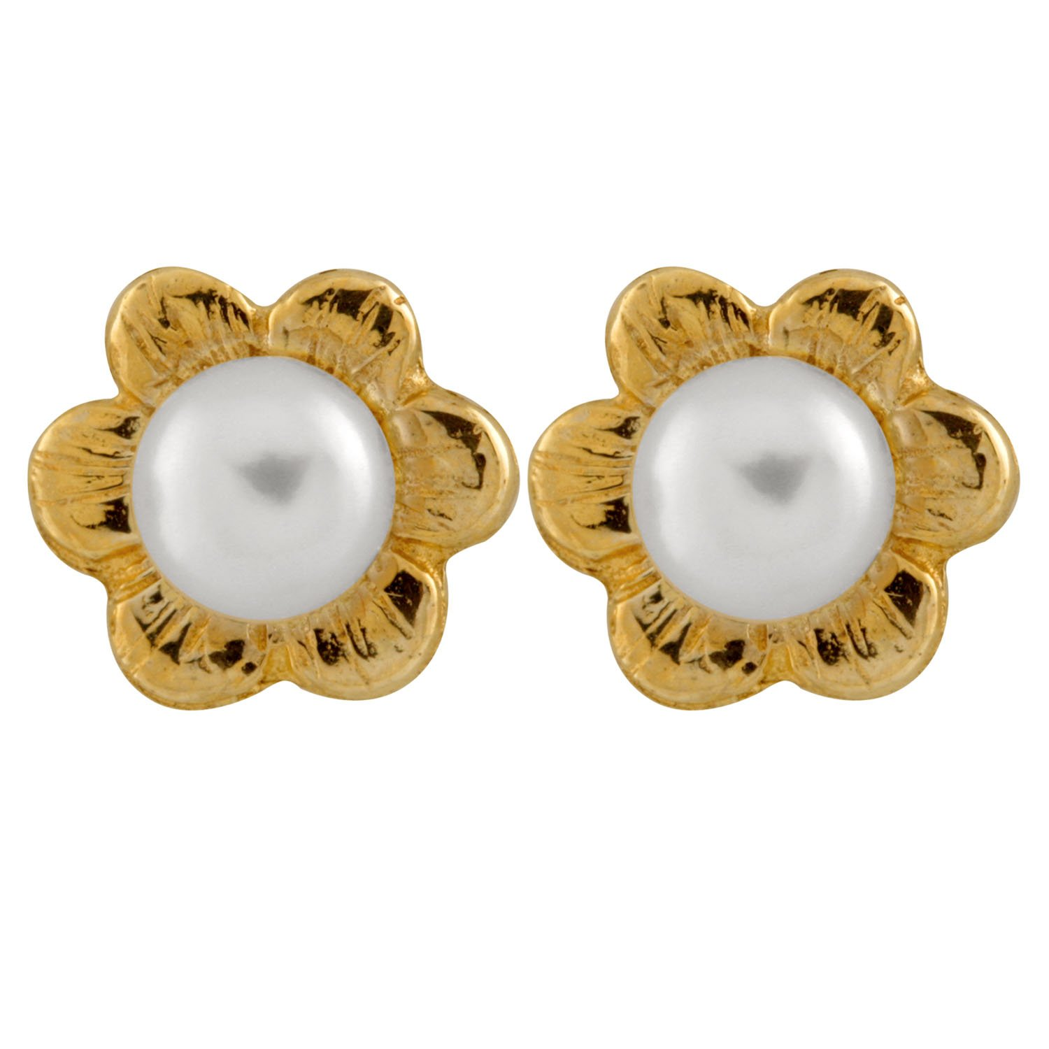 14K Yellow Gold 3.5-4mm Freshwater Cultured Pearls Stud Earrings with 14K YG Butterfly Safety Silicone Push Backs