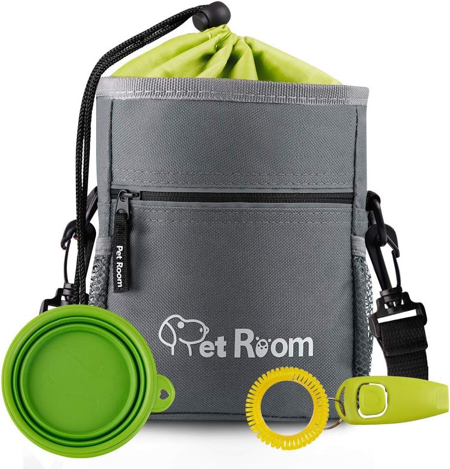 Pet Room Dog Treat Pouch Bag, Dog Walking Bag With Poop Bag Holder,Dog Training Clicker, Collapsible Silicon Dog Water Bowl, Adjustable Belt and Shoulder Strap