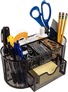 Simply Genius Mesh Desk Organizer with Drawers, Pencil Holder for Office Desk Accessories, Office Supplies, Pens, Black