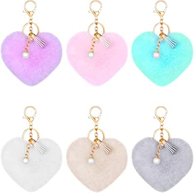 6 Pieces Colorful Tassel Pearl Pom Poms Keychains Heart Shaped Pompoms Keyring Faux Rabbit Fur Pompoms Keyring Fluffy Car Bag Charm for Girls Women