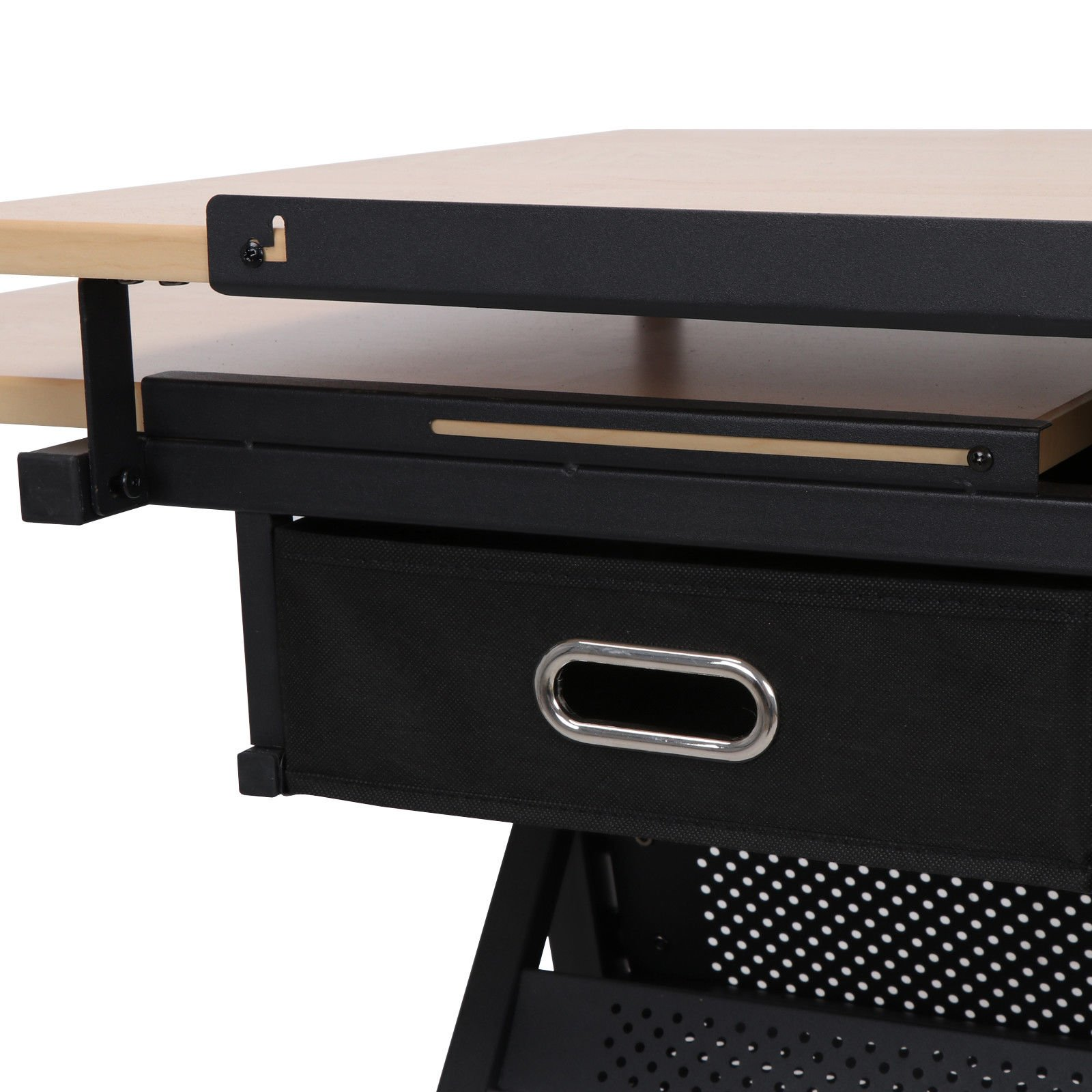 Tilting Tabletop Height Adjustable Drawing Desk with Padded Stool 2 Spacious Drawers Tools Storage Painting Drafting Writing Reading Study Table Draftsman Art Craft Hobby Studio Architect Office Work by HPW (Image #7)