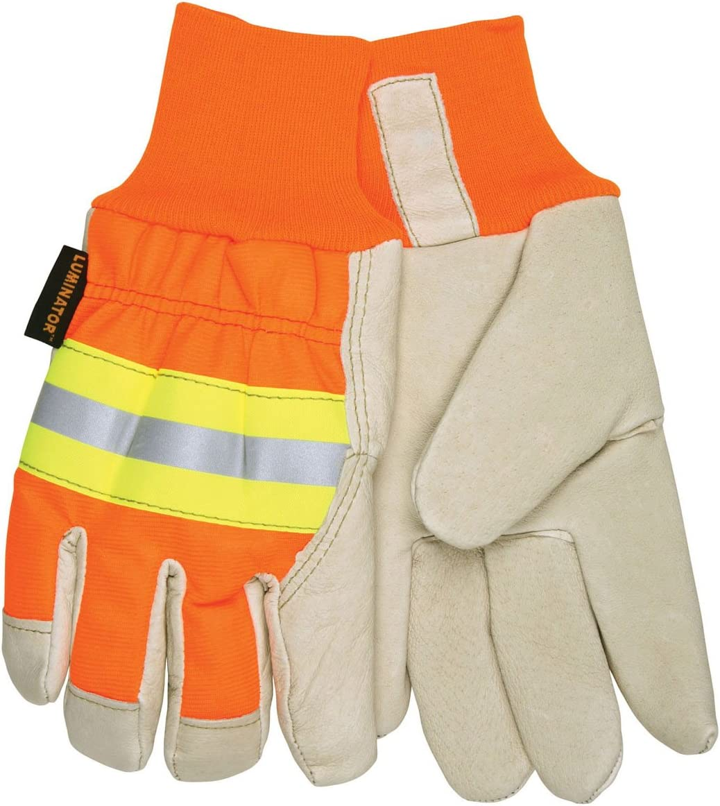 MCR Safety 3440L Luminator Grain Pigskin Thermosock Lining Driver Men's Gloves with Wing Thumb, Cream/Orange, Large, 1-Pair