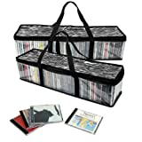 Evelots Set Of 2 Zebra Print Storage Bags, Portable CD Holders, Holds 110 CDs