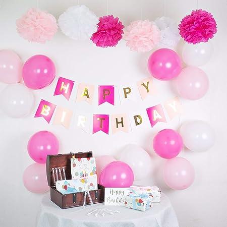infinimo Decoracion de cumpleaños Rosa Blanco ✮ Feliz ...