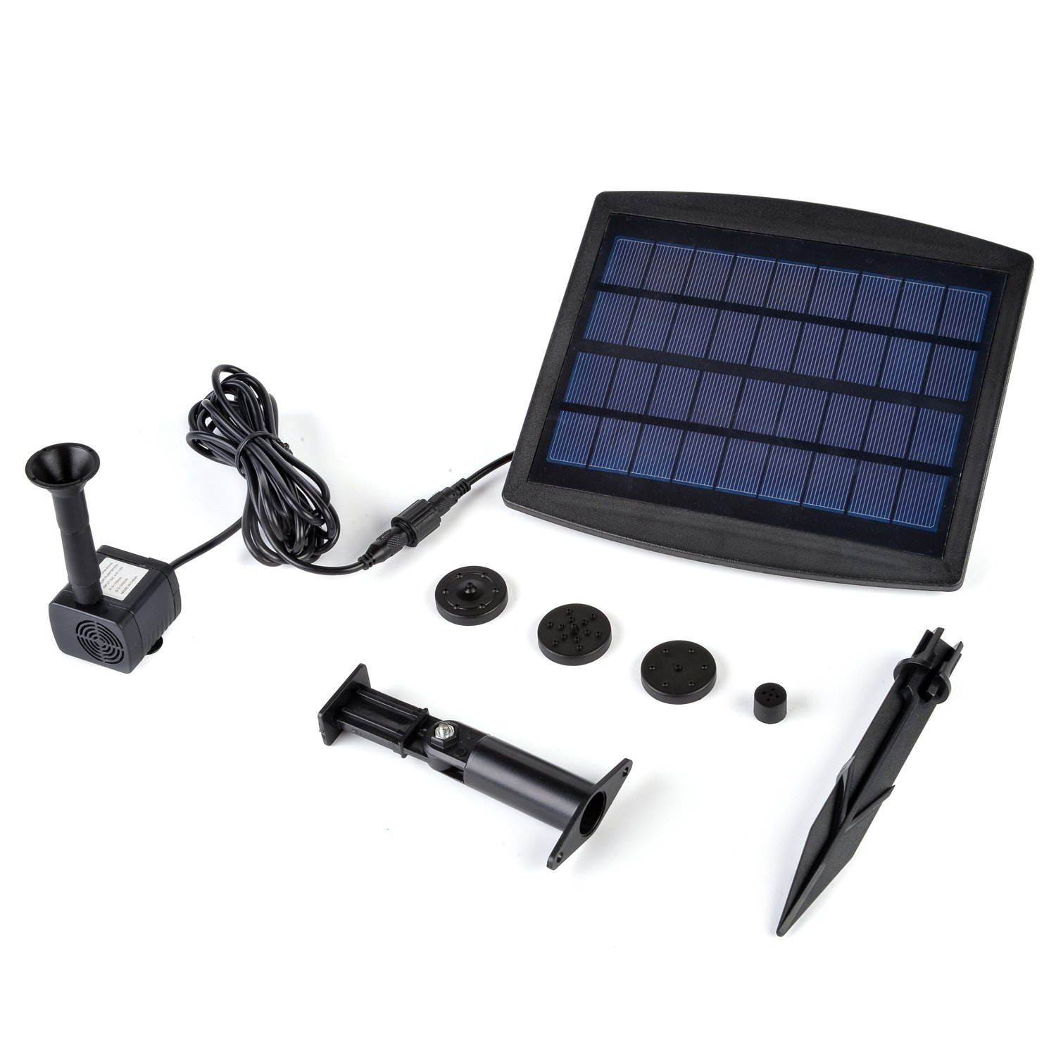 Weanas 9V 2.5W Solar Powered Water Pump Built-in Storage Battery Backup Brushless Submersible Pump Motor Solar Energy Garden Fountain Pond Plants Pool