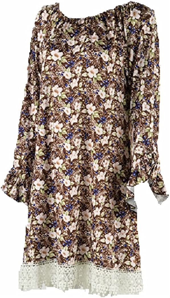 Lady Noiz Soft Flower Lace Ruffle Long Sleeve Tunic Shirt Top Blouse Brown Blue Size 2XL