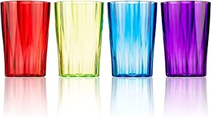 DrinkingGlasses by Spogears - Set of 4 DrinkingCups - 13 Ounce, PlasticTumblers, Vibrant Colors, The Plastic Glasses Set are Break Resistant Drinkware, Dishwasher Safe, BPA Free, Beverage Tumblers