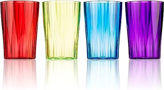 17 oz Unbreakable Sturdy Plastic Tumbler Cups Sturdy Durable Plastic Glasses Set Break Resistant Reusable Outdoor Drinkware Large Dishwasher Safe Colorful Beverage Cup Tumblers Set of 8