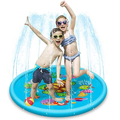 Sprinkle and Splash Water Play Mat Kids Children Inflatable Sprinkler Pad Prinkle Wading Pool Outdoor/Garden/Beach Water Spray Mat Toys: Automotive