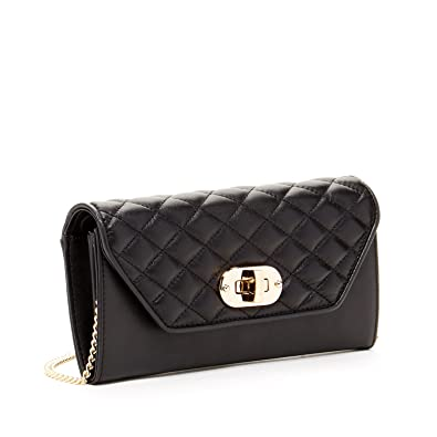 ff35752dc2 Black Clutch Wallet Bags for Women Quilted Crossover Leather Travel Purses  and Handbags Fits Passport iPhone