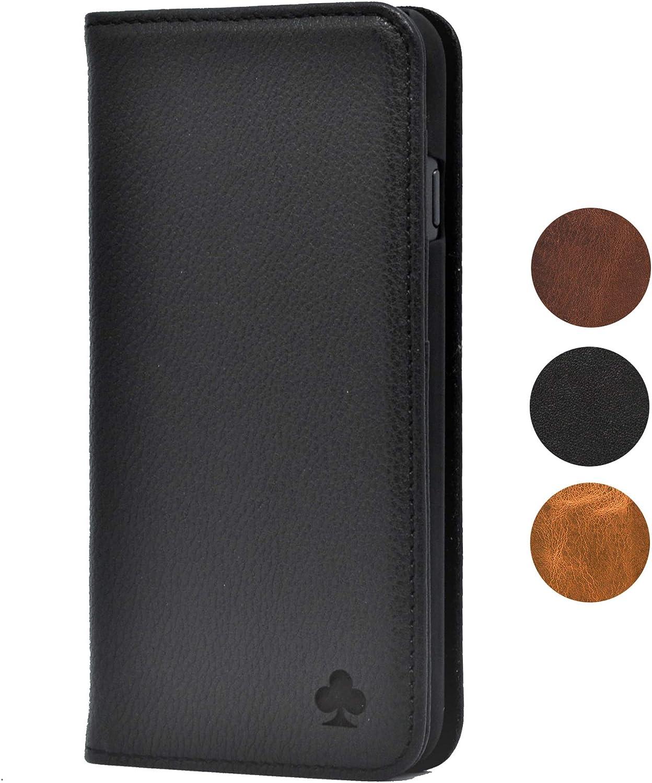 Porter Riley - Funda con Cartera para el Samsung Galaxy S9 Plus. Funda/Flip/Soporte en Cuero Genuino (Negro Puro)