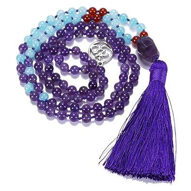 CAT EYE JEWELS 6mm 8mm Mala Beads Necklace Yoga Meditation 108  Semi-Precious Stone Prayer Beads Tassel Necklace