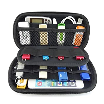 vzer multifunción Big capacidad USB flash disco duro caso bolsa para U disco USB disco de memoria SD Card con tarjeta de Crédito Ranura Soporte, Negro