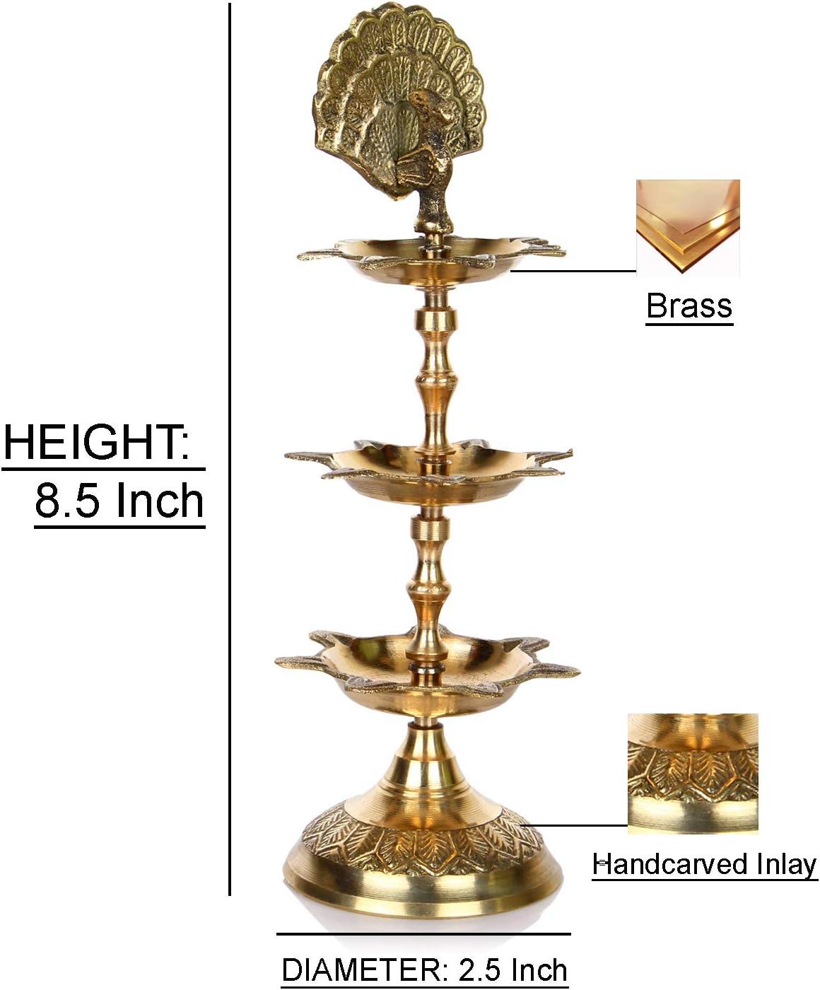lampada ad olio realizzata e incisa a mano in ottone indiano Hashcart diya di PanchMahal 3/in 1/regolabile  Gold