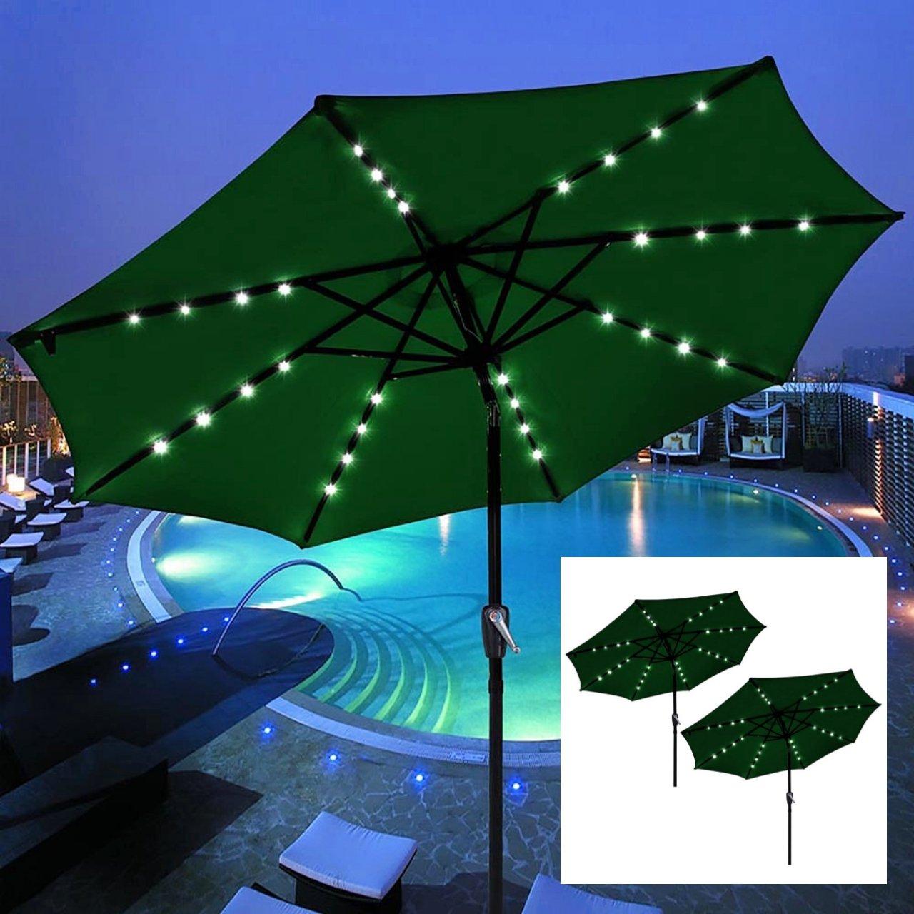 Set of 2 / 9' Outdoor Patio Solar Power LED Aluminium Umbrella Sunshade UV Blocking Tilt & Crank Green #909