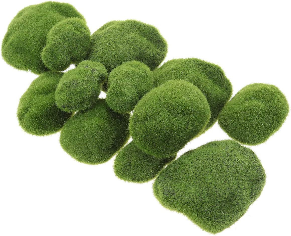 Vosarea Simulación almizcle Irregular Verde Piedras Hierba Acuario jardín Planta DIY Micro Paisaje decoración Plantas postizas (12almizcle Piedras)