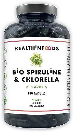Espirulina y Chlorella Premium con VITAMINA C-Healthinfoods-120mg de Vitamina C-DETOX-Vegano-Saciante-Hierro+Calcio+Proteínas-Contribuye al Sistema ...