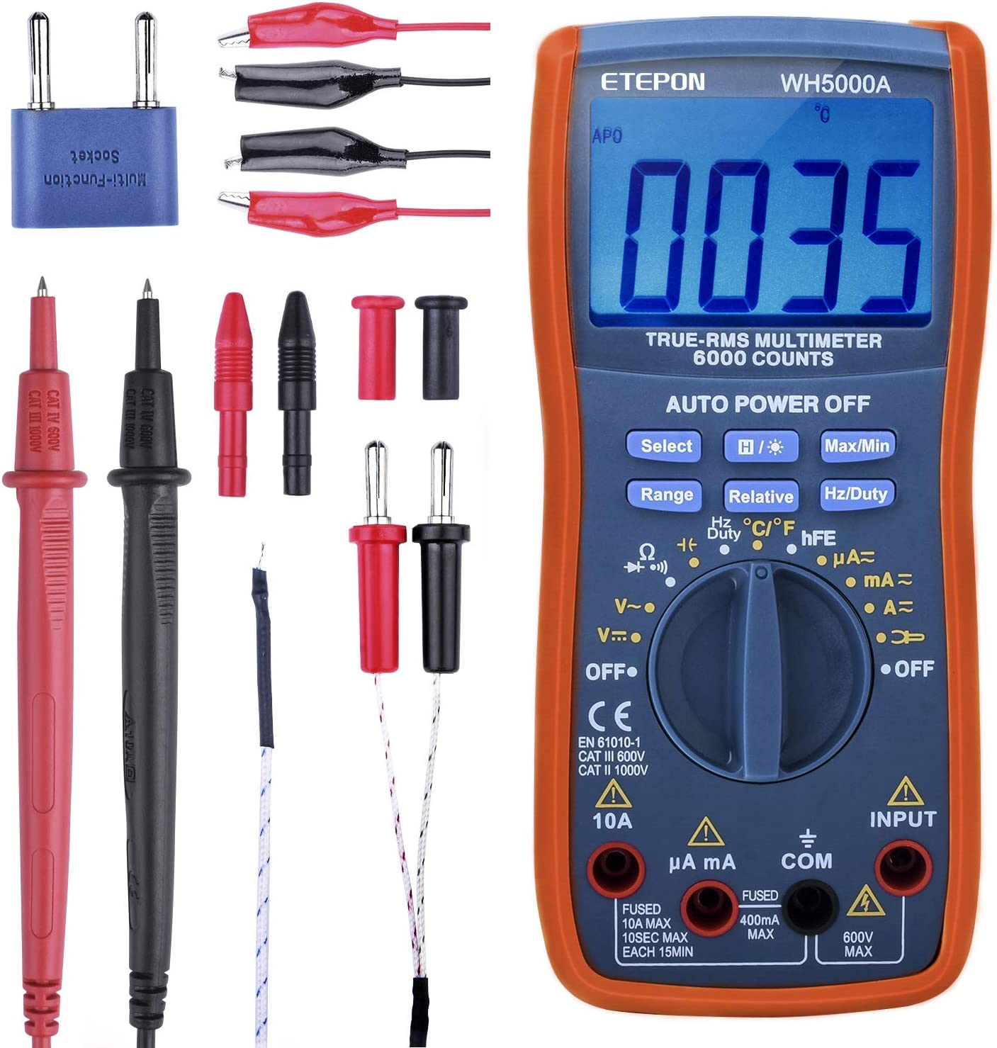 Etepon Wh5000a Digital Multimeter True Rms6000 Counts Multimeters Manual And Auto Range Measures Voltage Current Resistance Continuity Capacity Frequency Tests Diodes Transistors Temperature Auto