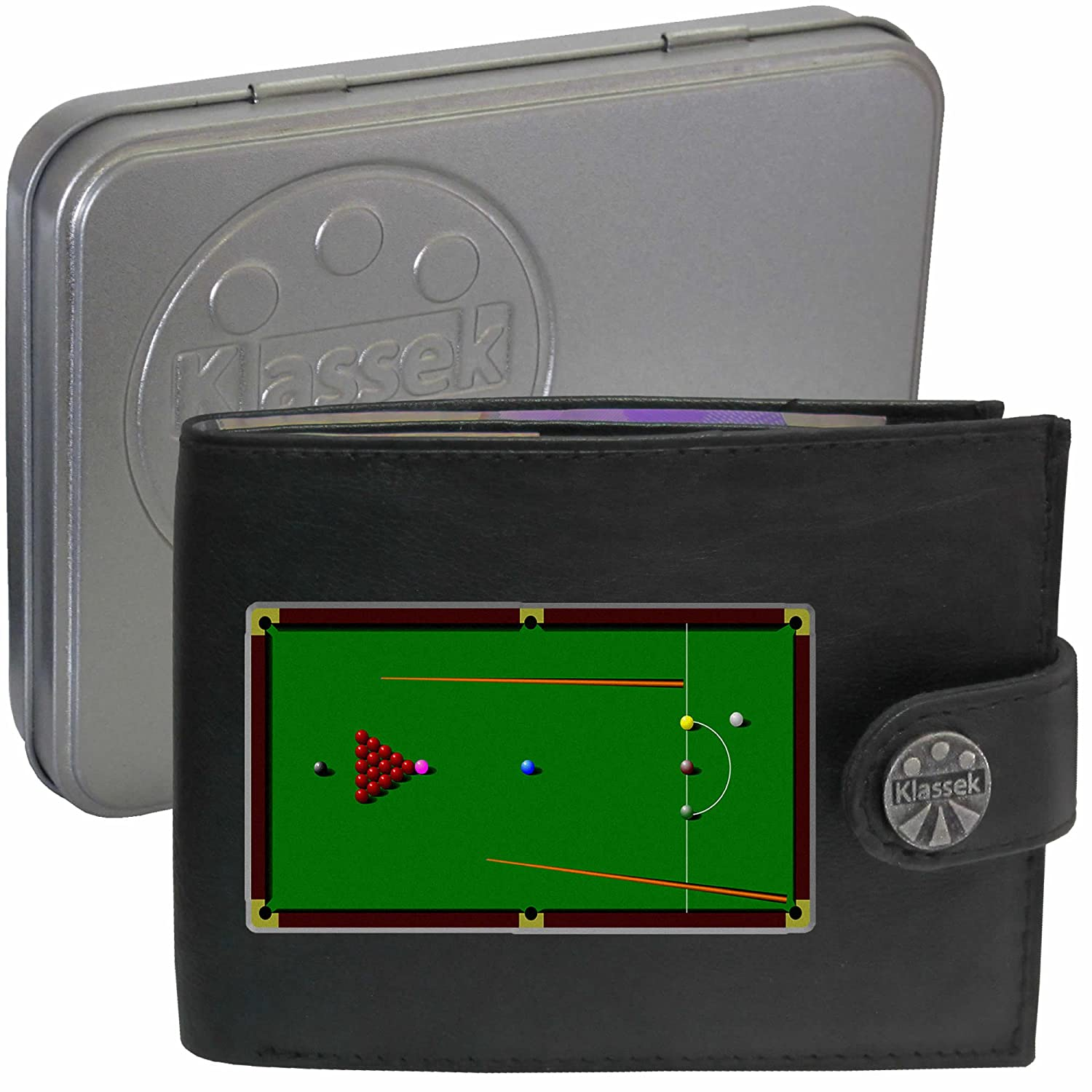 Snooker table with balls and Cue Mens Black Leather Wallet Novelty Sport pool funny Present gift with Metal Box