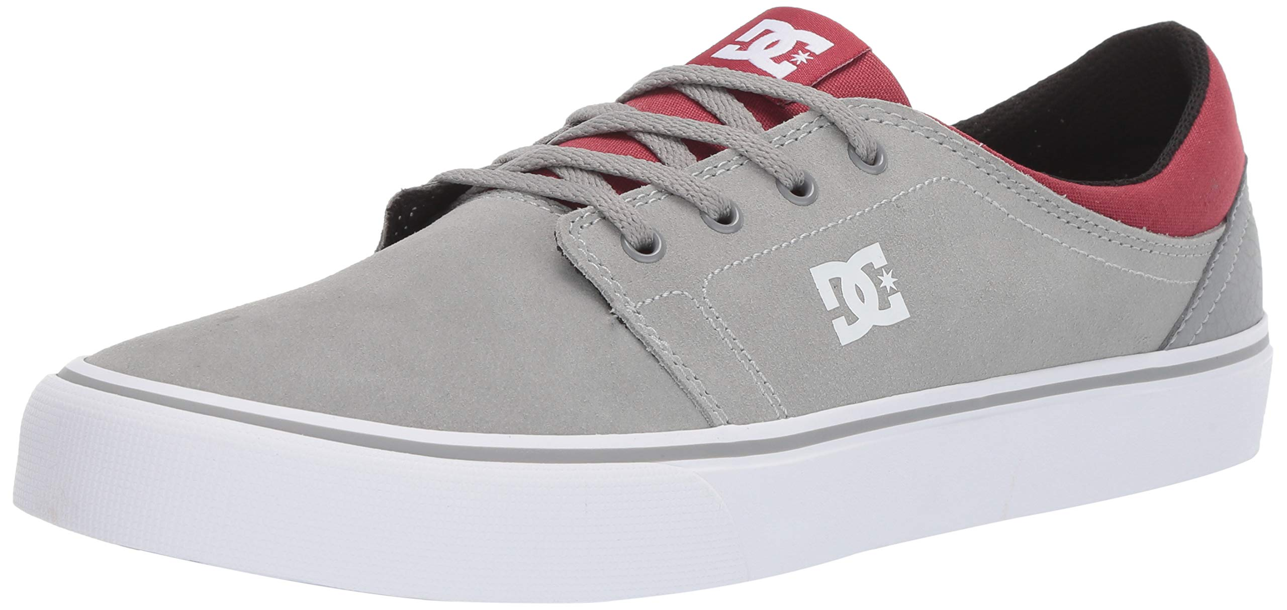 DC Men's Trase SD Skate Shoe, Grey/Dark red, 6.5 M US by DC