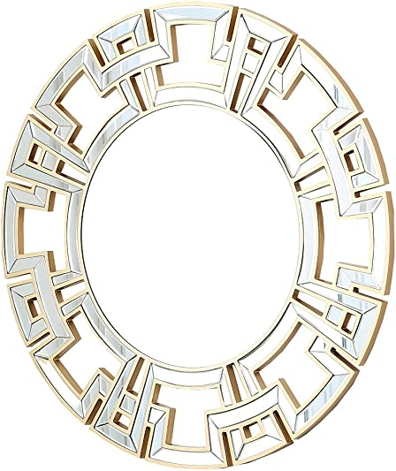 Abbyson Zentro Round Wall Mirror, Gold