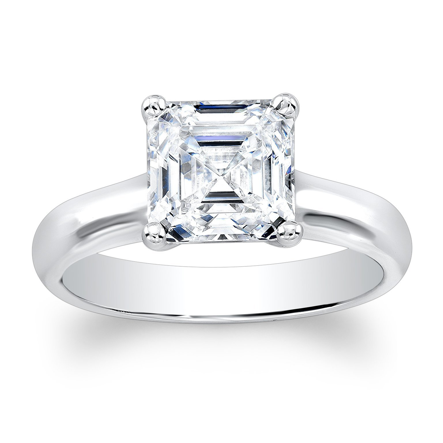 Ladies 14k white gold plain solitaire engagement ring with natural 2ct Asscher Cut White Sapphire center gemstone