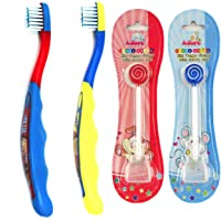 Adore Mighty Raju Kid's Toothbrush with Cap and Tongue Cleaner Combo (Multi-Color, Pack of 4) (Boy)