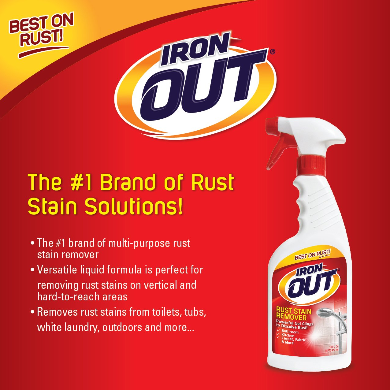 Iron OUT Rust Stain Remover Spray Gel, 16 Fl. Oz. Bottle, 6 Pack by Summit Brands (Image #6)
