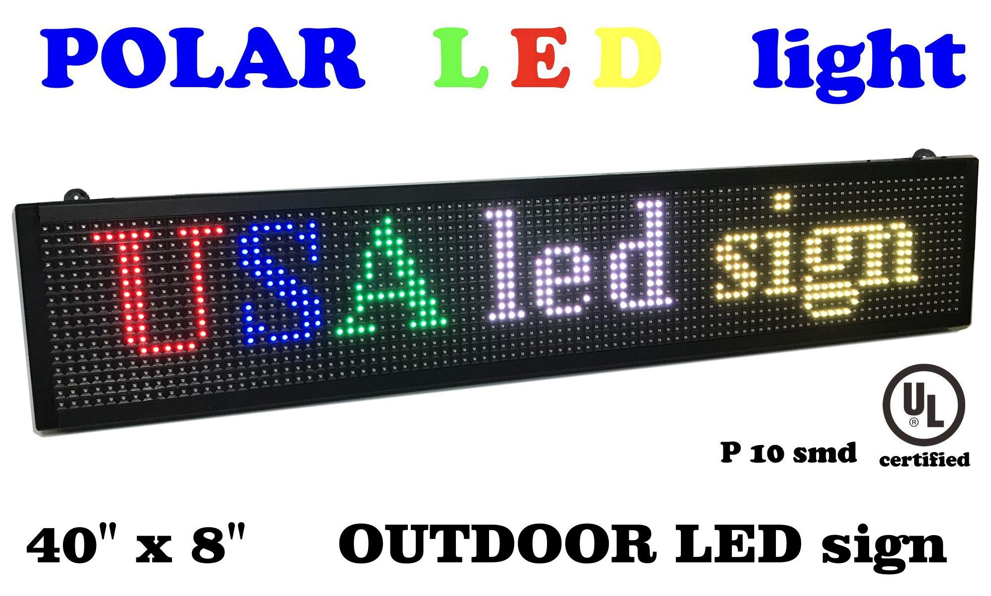 Outdoor LED Scrolling Sign Full Color 40 x 8'', Resolution P10, Advertising Tool for Your Business