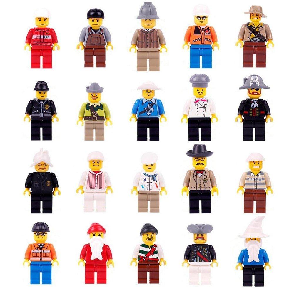 Laozhou 20pz Set Minifigures Building Bricks mini persone e accessori per bambini creativi giochi di ruolo