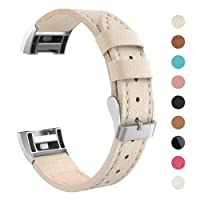 "LANGREE Fitbit Charge 2 Band Genuine Leather Strap, Classic Adjustable Replacement Wristband for Fitbit Charge 2 Women Men Accessories Small size for 5.5""- 7.2"" wrist"
