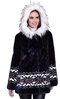 1b490ac456 DU MONDE Black Mountain Ladies Dreamcatcher Faux Fur Coat, Black ...
