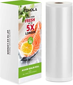 "Vacuum Sealer Bags - TEMOLA 8""x50' Roll 1 Pack Freezer Storage Machine Bags with Commercial Grade, BPA Free and Heavy Duty, Great for Food Saver, Vac Storage, Meal Prep or Sous Vide"