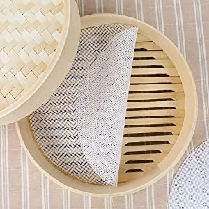 10Pcs 12 inch Reusable Round Silicone Steamer Liners Non-stick Silicone Steamer Mesh Mat Pad Dim Sum Mesh for Home Kitchen or Restaurant