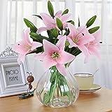 Flores Artificiales, Meiwo 5 Pcs Real Toque Látex Artificial Lillies Flores en Floreros Decoración de Boda / Decoración para el hogar / Parte / Graves Arreglo(Rosado)