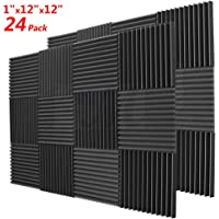 """BEWAVE Acoustic Foam Soundproofing Acoustic Panels, Sound Proof Padding Wedge Tiles Curtain for Studio Wall Piano Room 1""""x12""""x12"""" (24 Pack, Black)"""