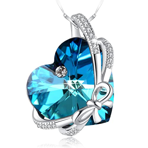 d710c5144596 SUE S SECRET October Birthstone Necklace 925 Sterling Silver Bowknot Heart  Necklace with Swarovski Crystal