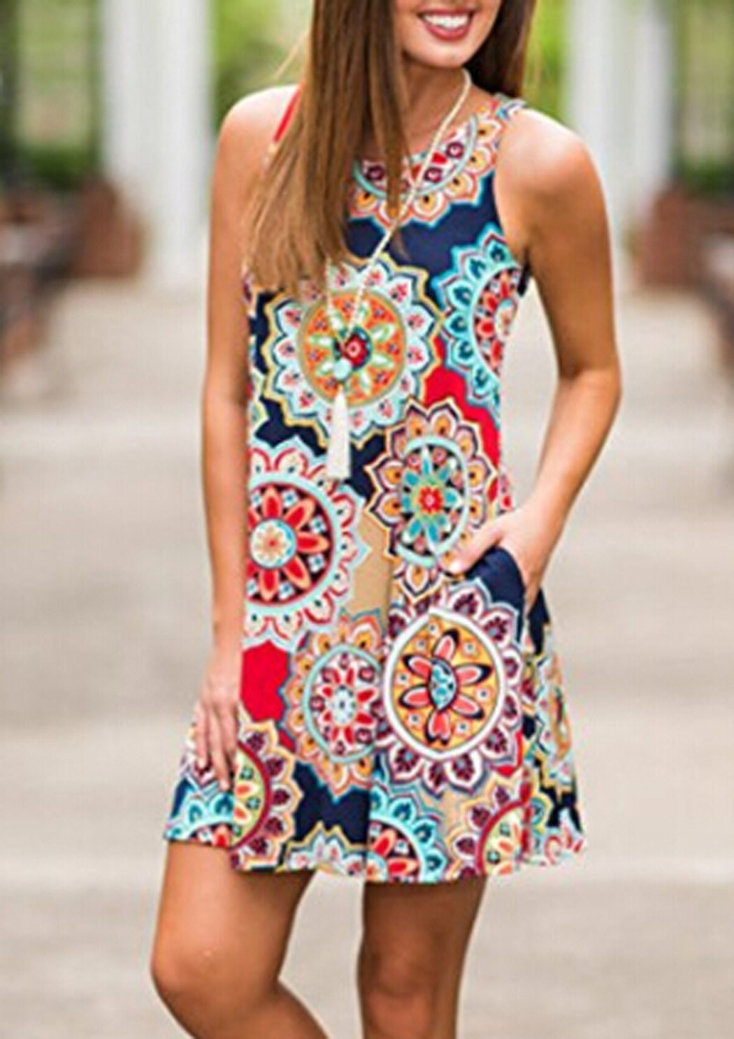 POGTMM Ladies Casual Ethnic Flower Print Beach Loose Tank Plus Size Short Dresses(Navy Blue,XXL) by POGTMM (Image #4)
