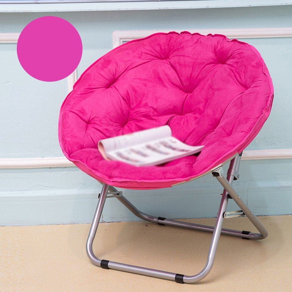 Sun loungers / sun loungers / lazy chairs / round chairs / backrest Adult sofa chairs / bold round tube Fabric soft and comfortable / multi-color Balcony folding chair / ( Color : Rose )