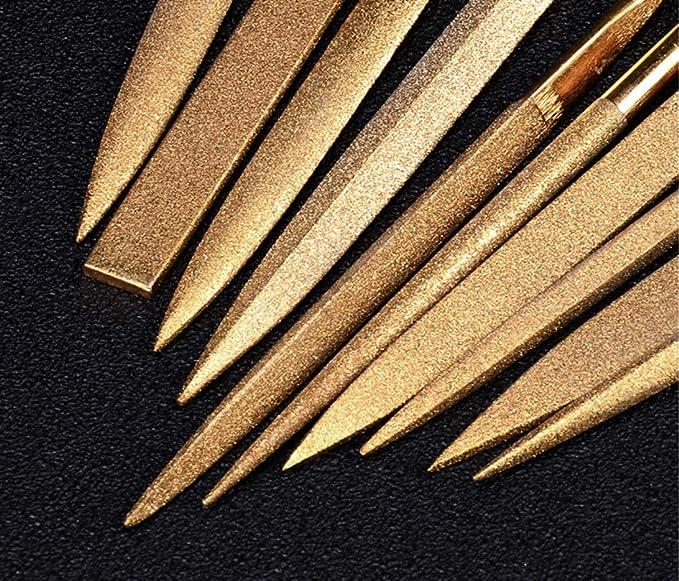 Juego de archivos de aguja de diamante revestido de titanio de 10 piezas para trasdos de guitarra Madera y pl/ástico de metal blando 180 mm, Glod