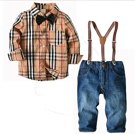 QTONGZHUANG Ropa de niño de Manga Larga Camisa a Cuadros Correa Jeans Traje de los Hombres Tesoro Primavera de Dos Piezas, 100 cm: Amazon.es: Deportes y aire libre