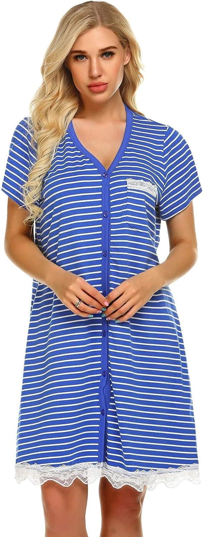 UNibelle Camicie da Notte Donna Estate Manica Corta Pigiama Vestaglia Pigiami Bottoni Pizzo S-XXL