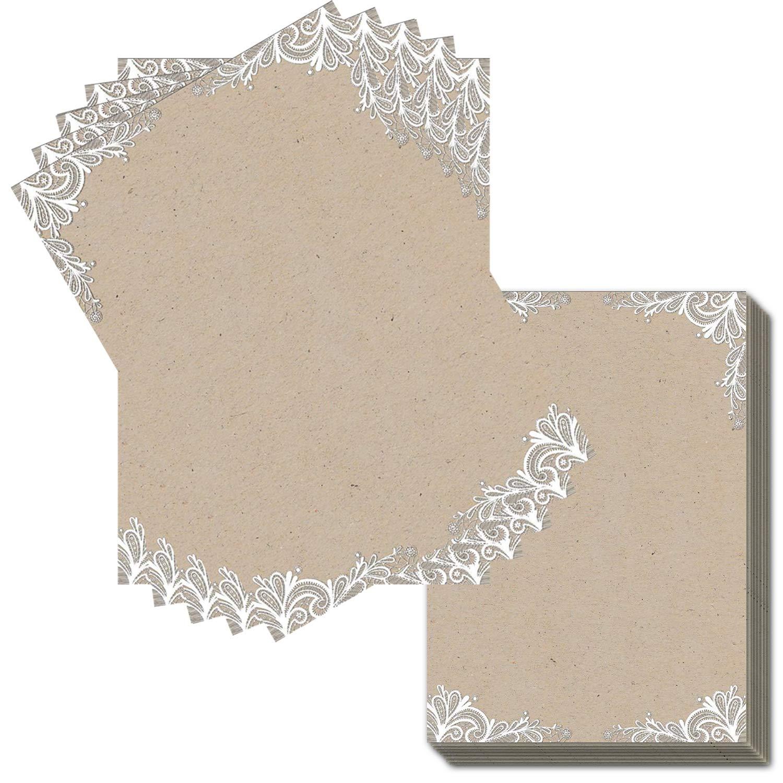 Carta da lettere in stile vintage con effetto carta Kraft qualit/à pesante 120 g//m2. DIN A4 2 lati con punta bianca