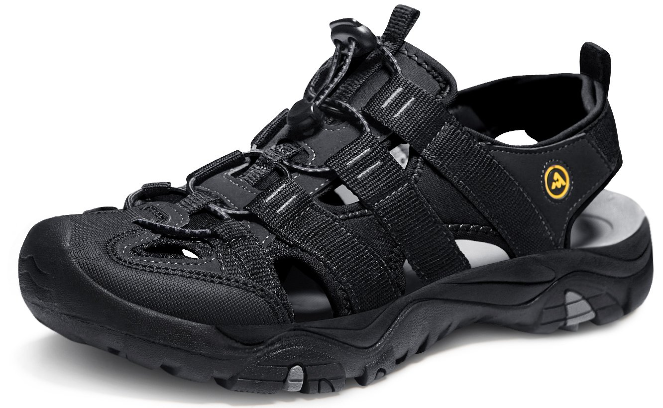 ATIKA AT-M107-BLK_Men 10 D(M) Men's Sports Sandals Trail Outdoor Water Shoes 3Layer Toecap M107 by ATIKA