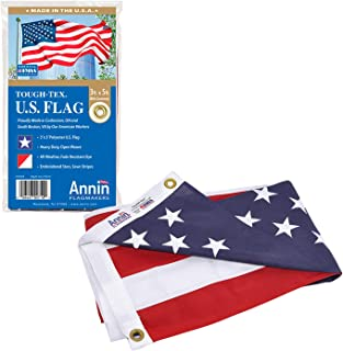 product image for Annin Flagmakers Model 2710 American Flag Tough-Tex The Strongest, Longest Lasting, 3x5 ft, 100% Made in USA with Sewn Stripes, Embroidered Stars and Brass Grommets